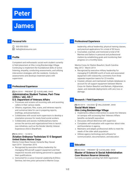 U.S. Department of Veterans Affairs Administrative Trainee Resume Example