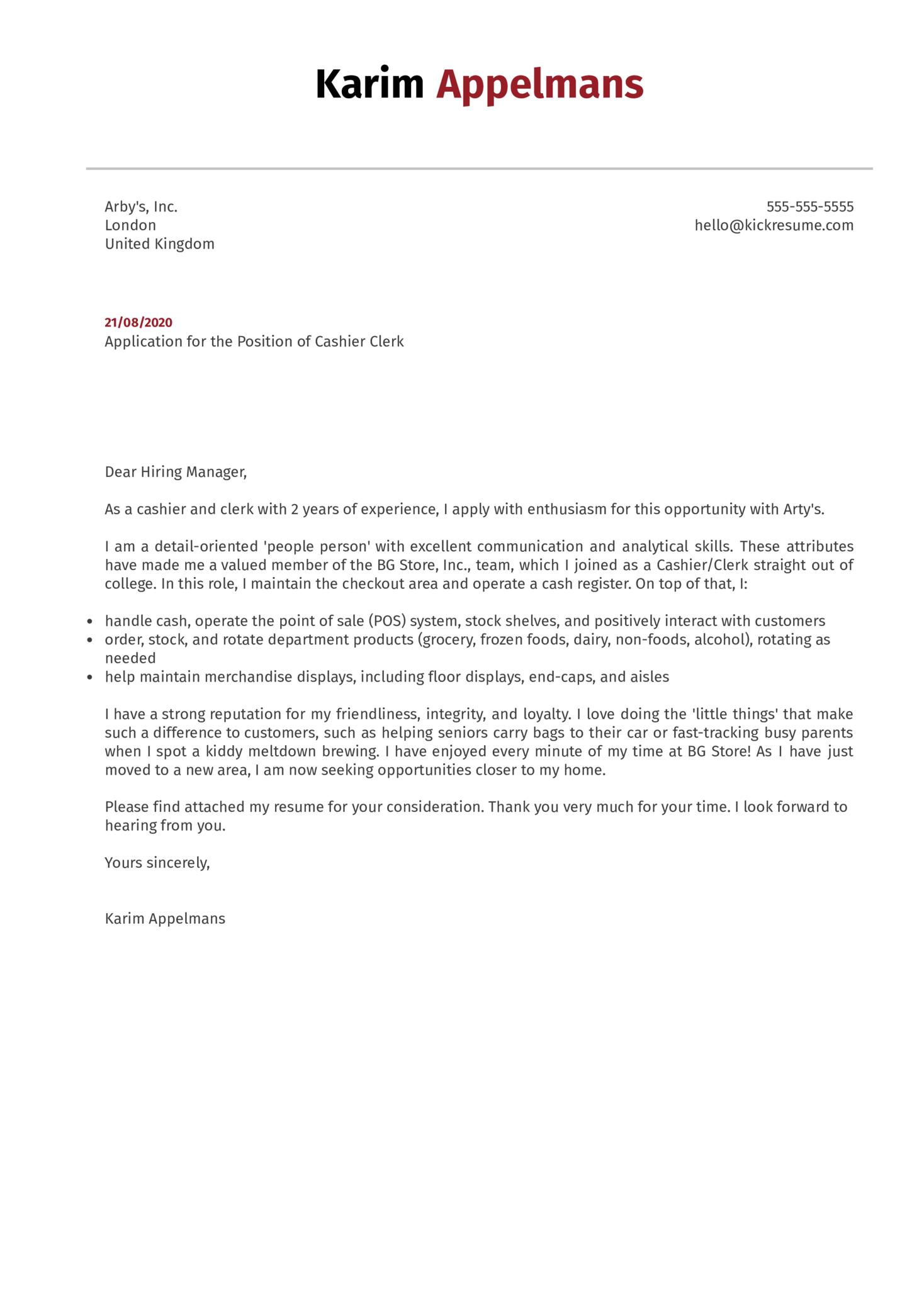 Cashier Clerk Cover Letter Example