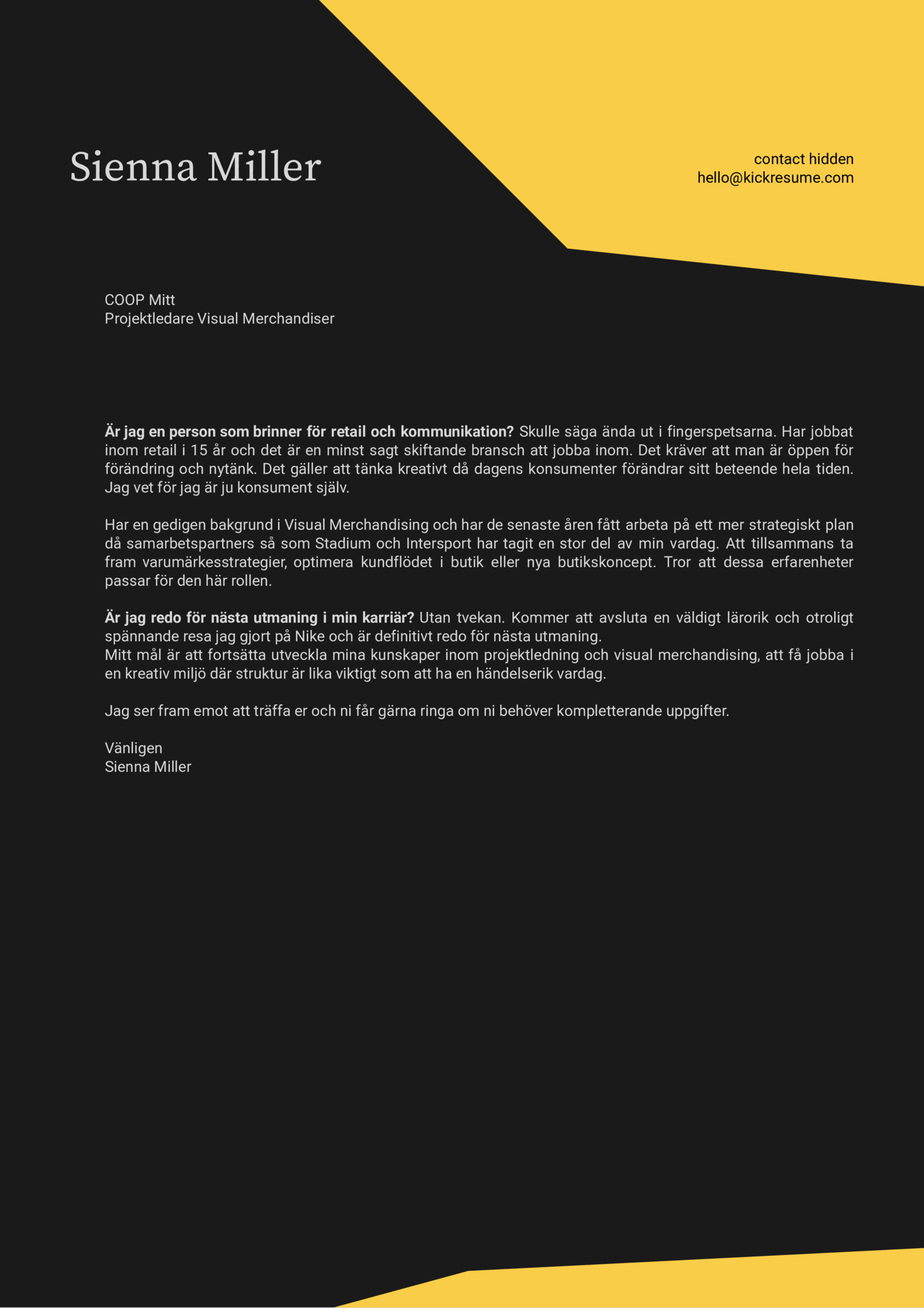 Coop Project Manager Cover Letter Sample [SV]