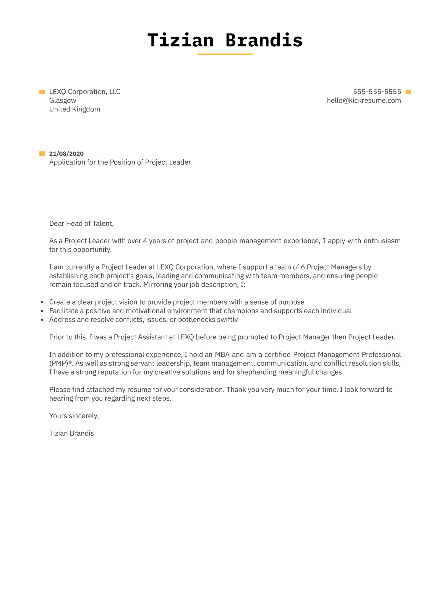 Project Leader Cover Letter Example