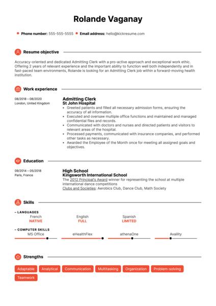 Admitting Clerk Resume Sample