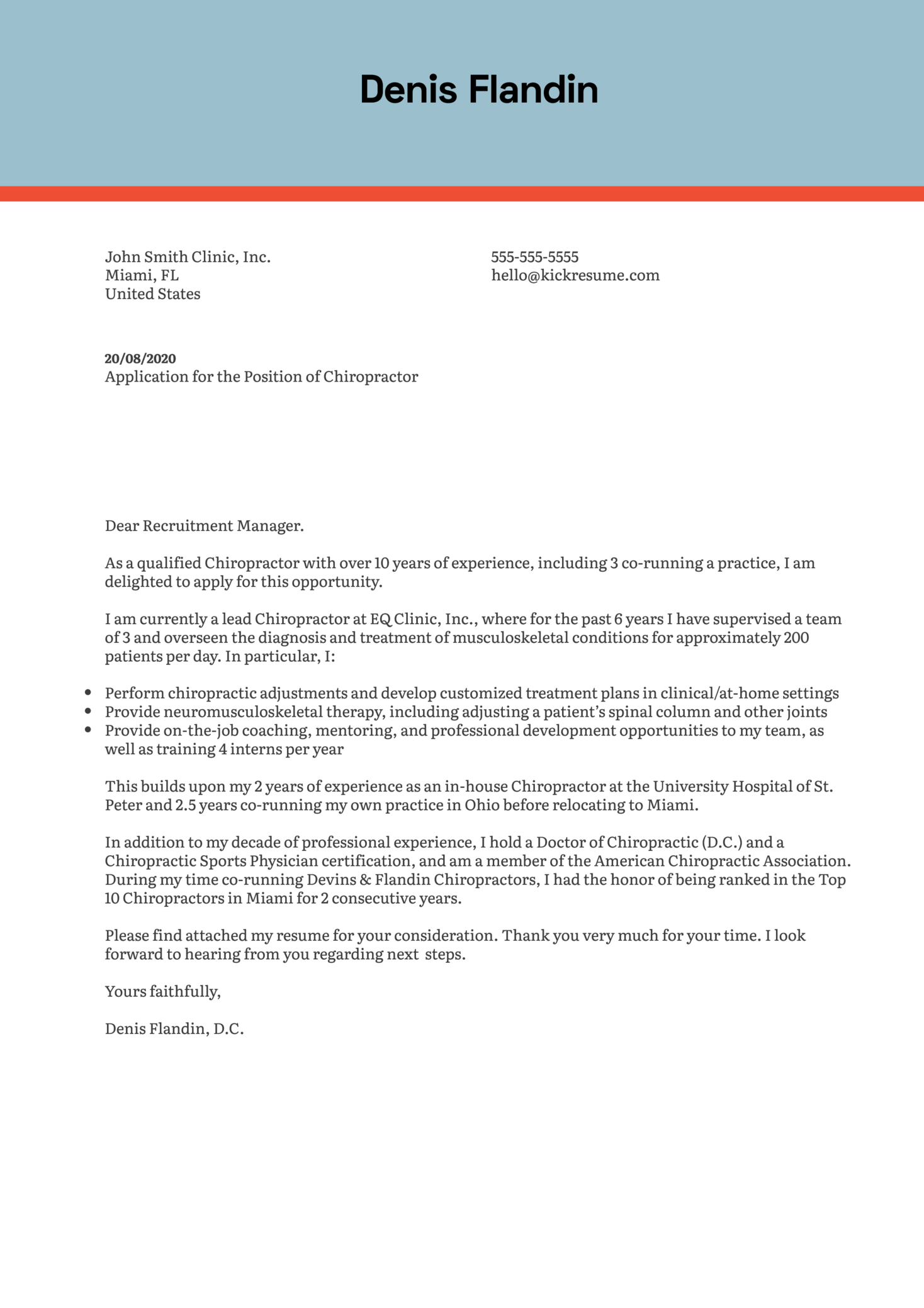 Chiropractor Cover Letter Example