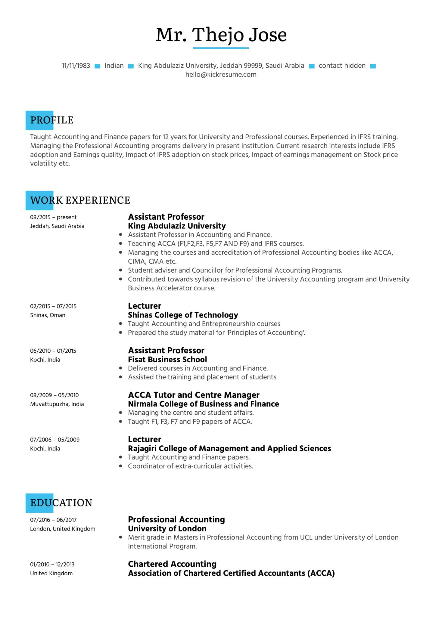 Assistant Professor Resume Sample (Part 1)
