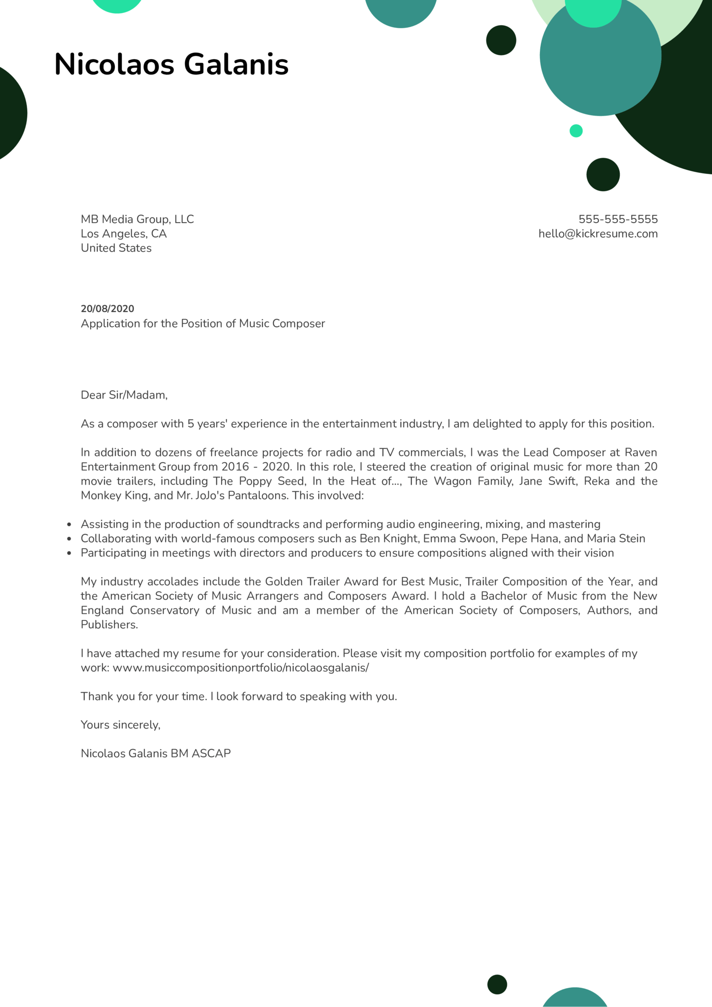 Music Composer Cover Letter Example