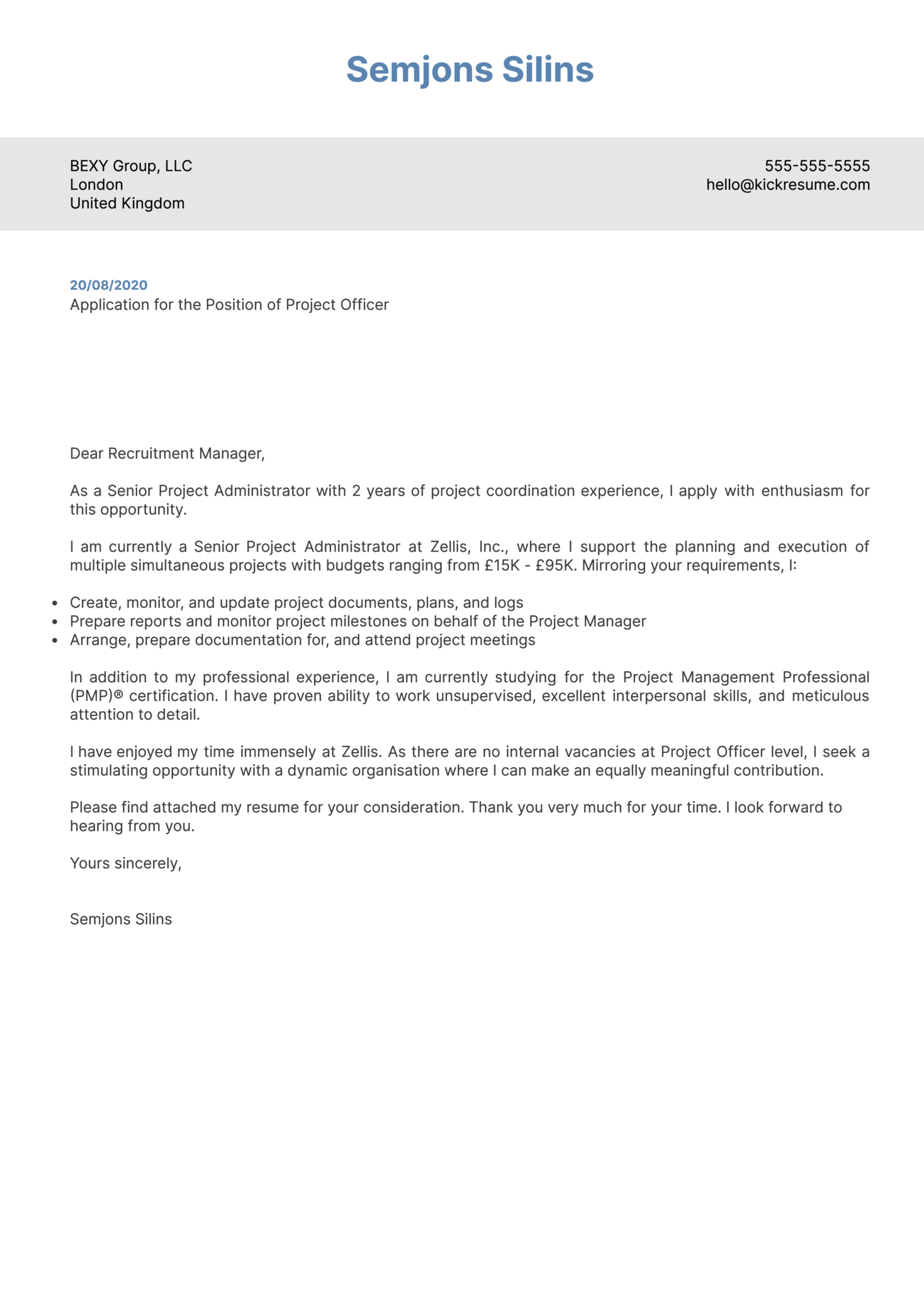 Project Officer Cover Letter Example