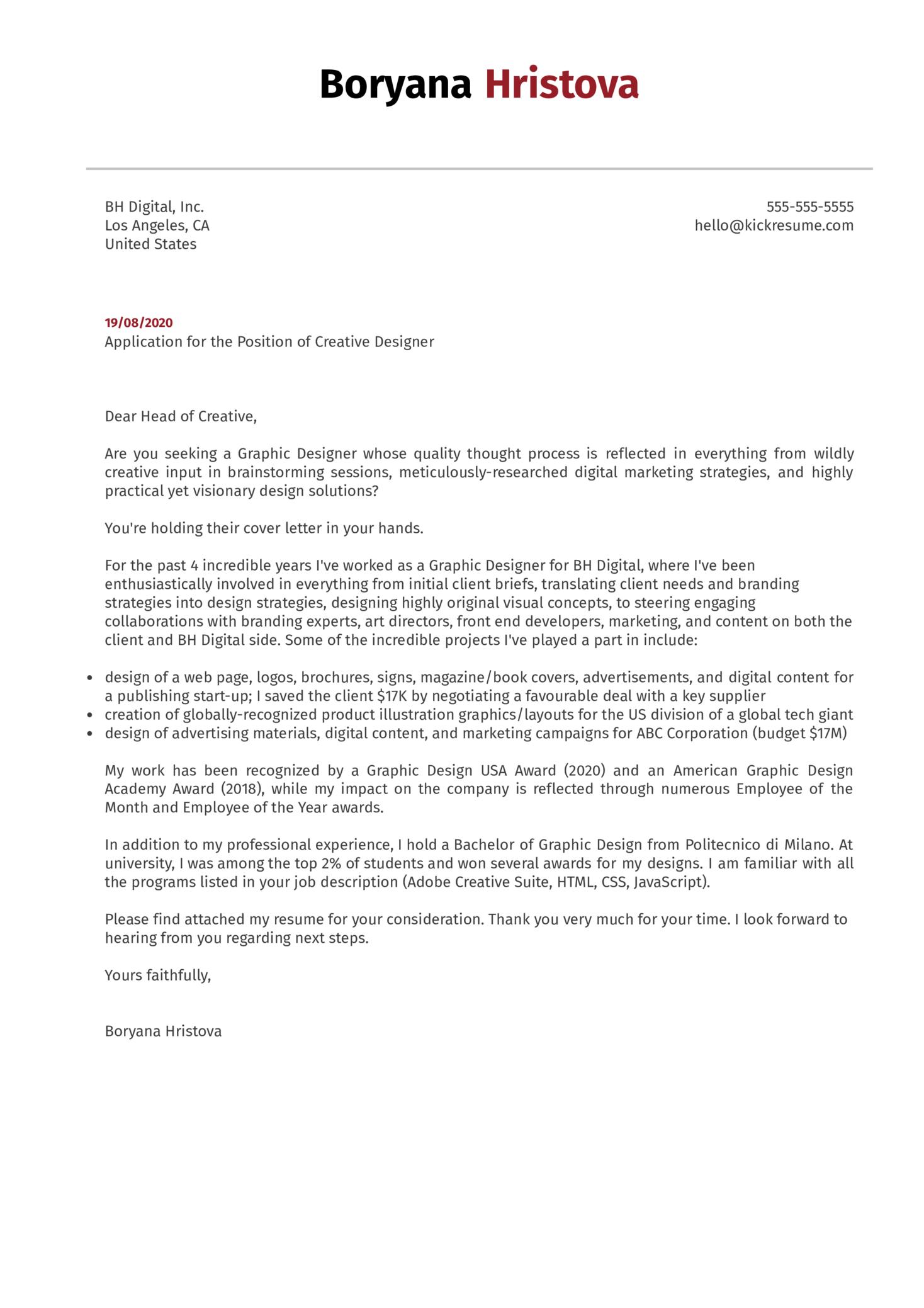 Creative Designer Cover Letter Example
