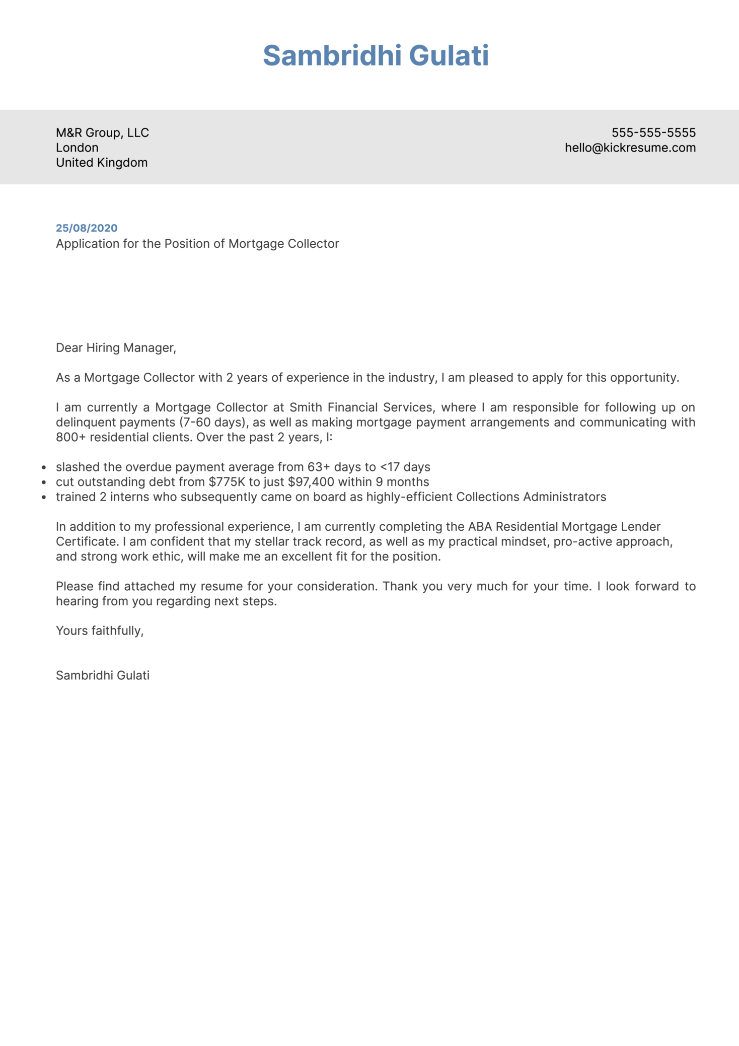 Mortgage Collector Cover Letter Example