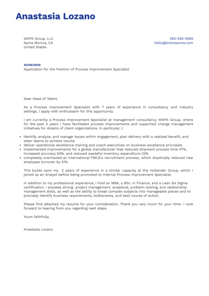 Process Improvement Specialist Cover Letter Example