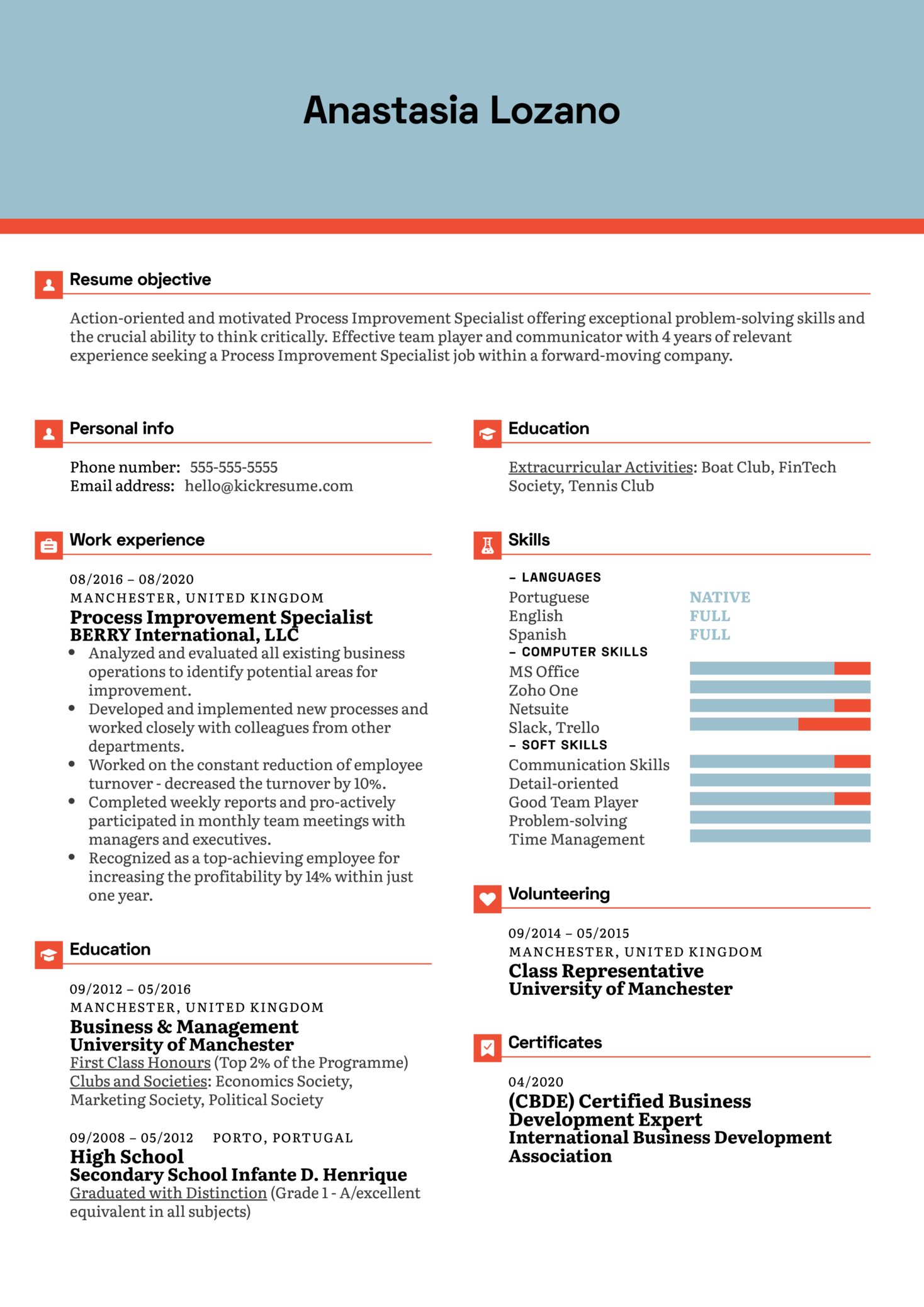 Process Improvement Specialist Resume Sample