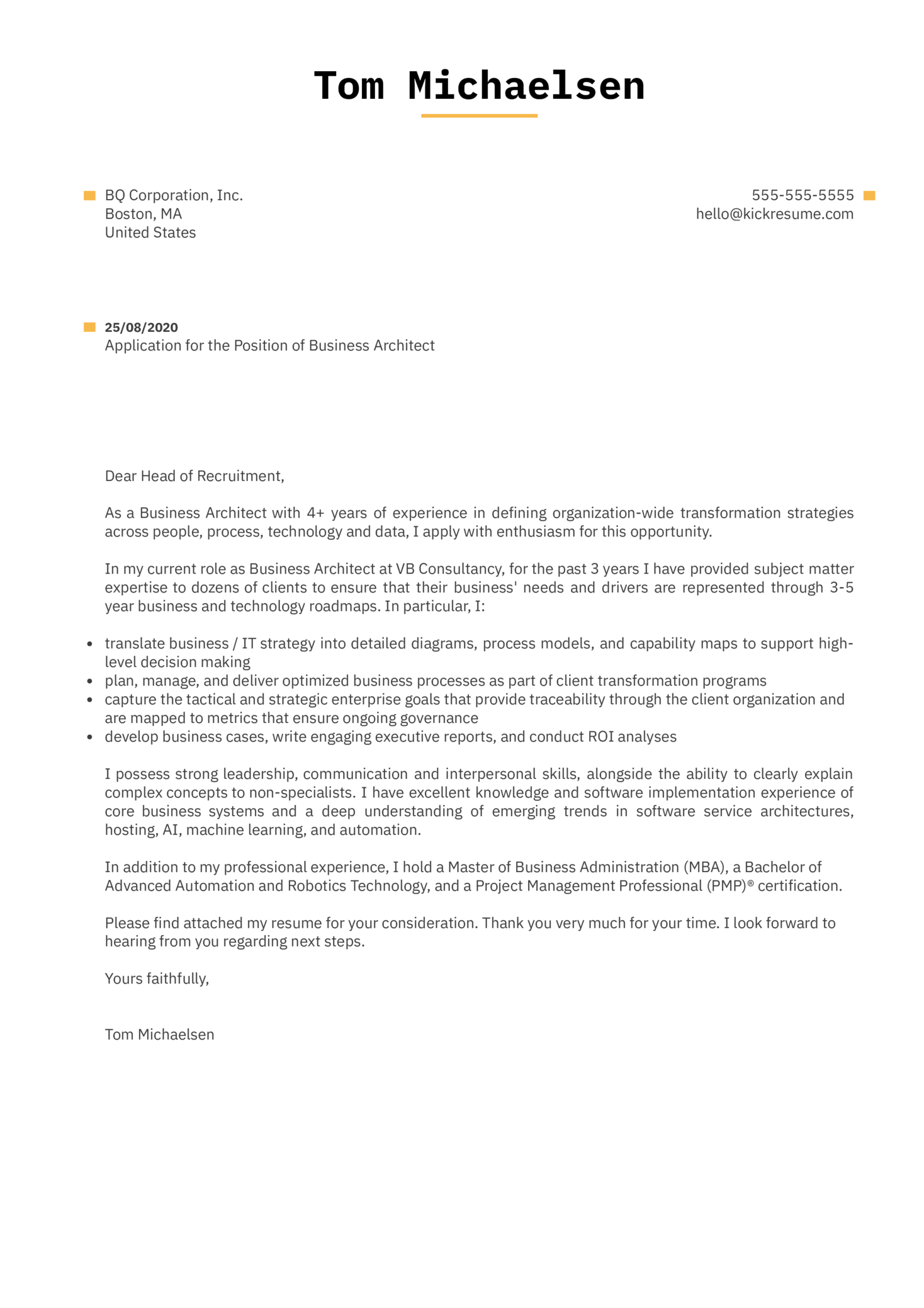 Business Architect Cover Letter Example