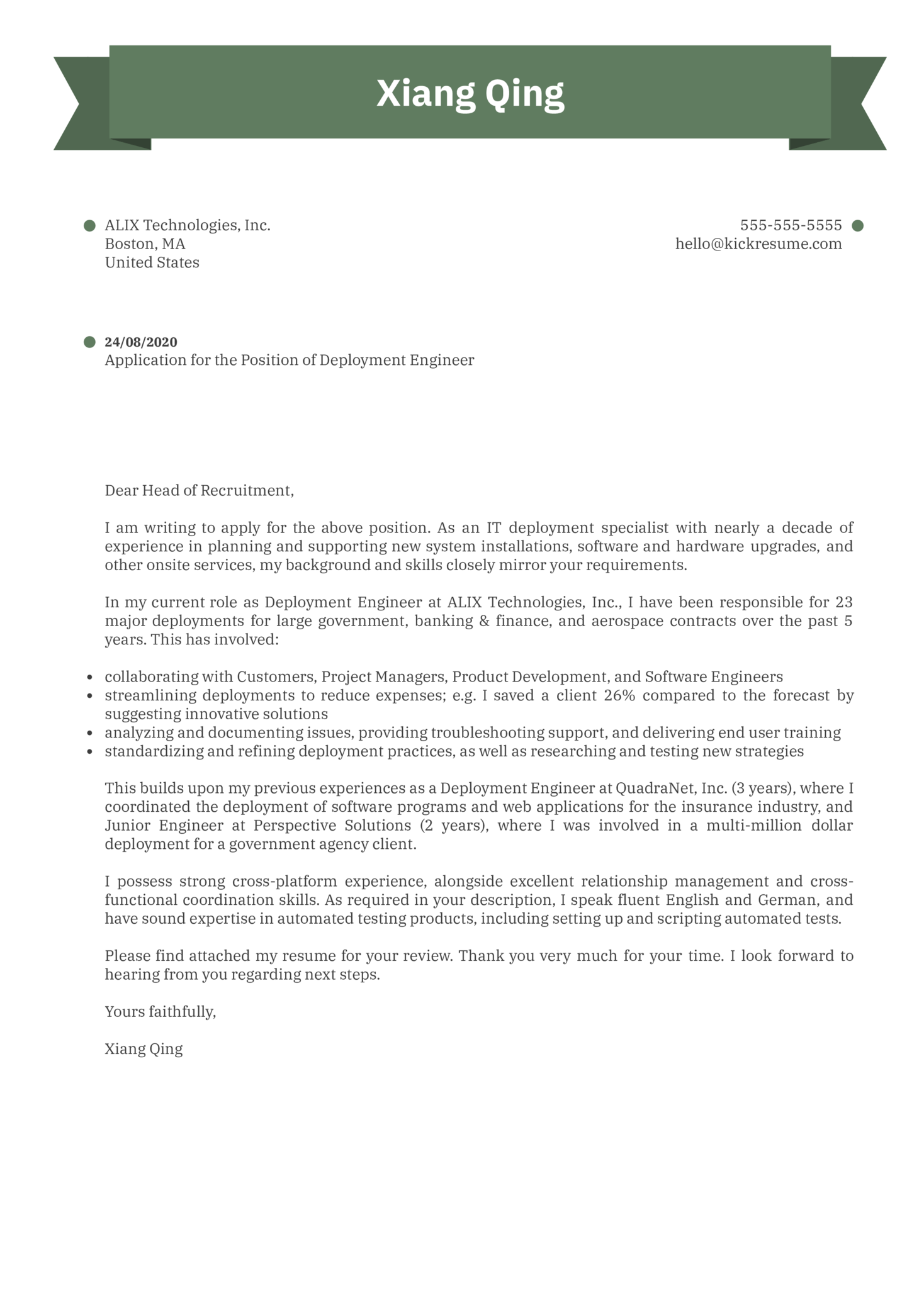 Deployment Engineer Cover Letter Example