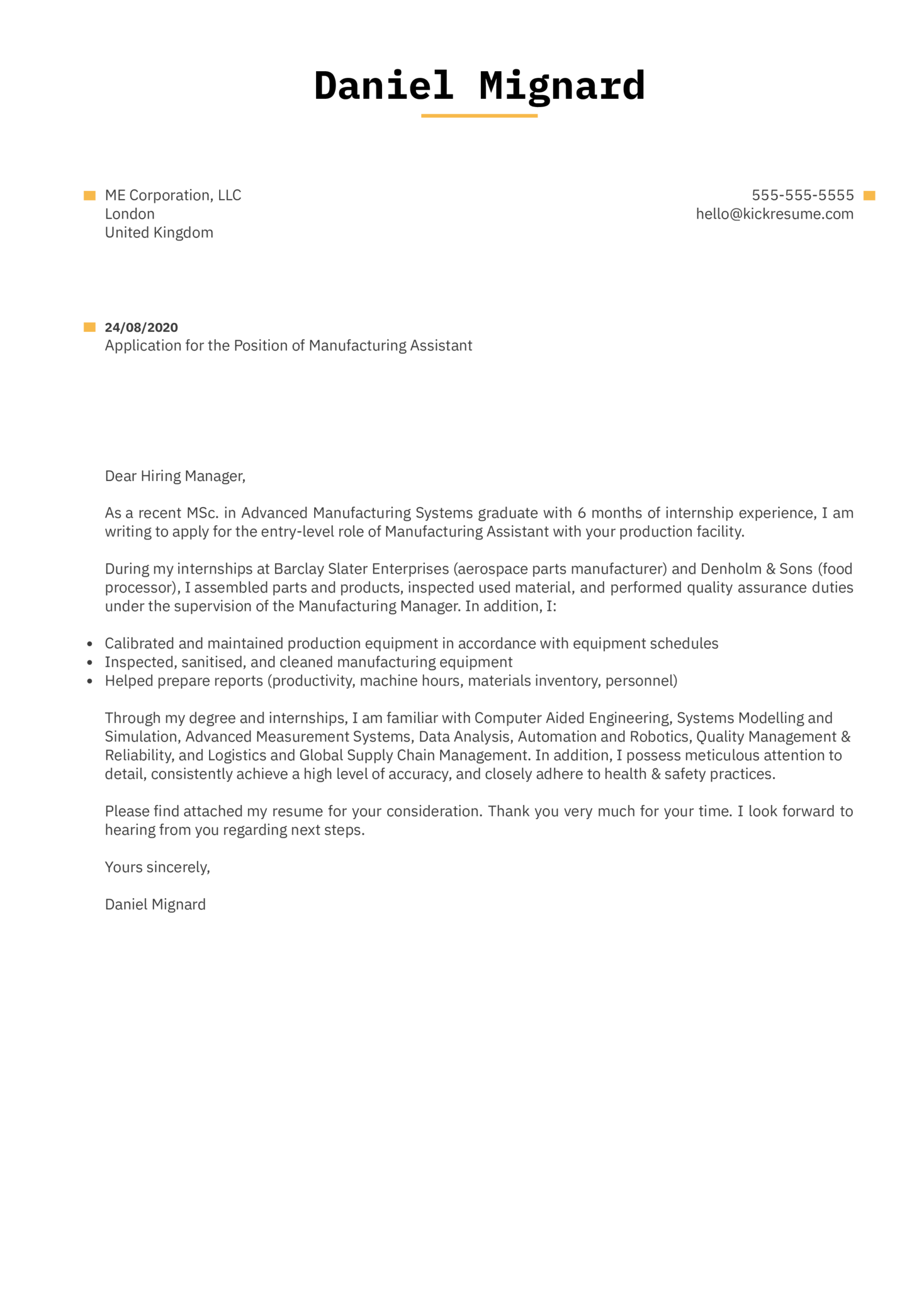 Manufacturing Assistant Cover Letter Example