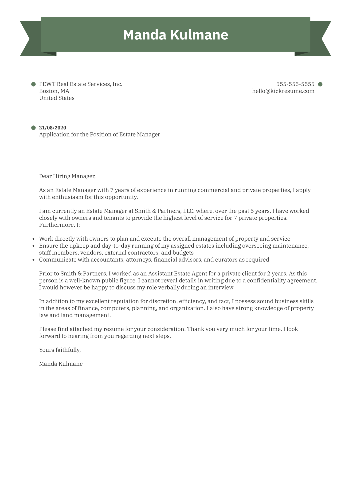Estate Manager Cover Letter Example