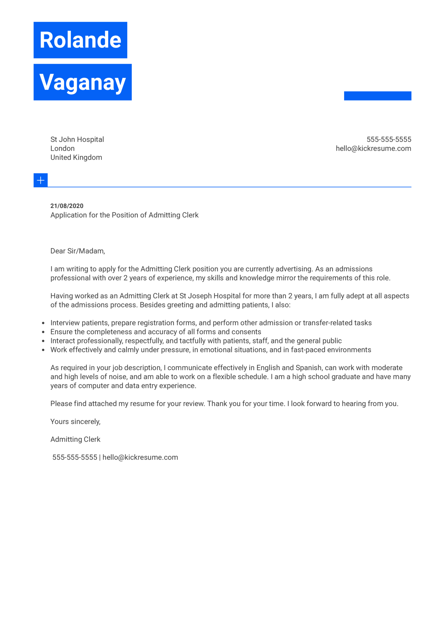 Admitting Clerk Cover Letter Sample