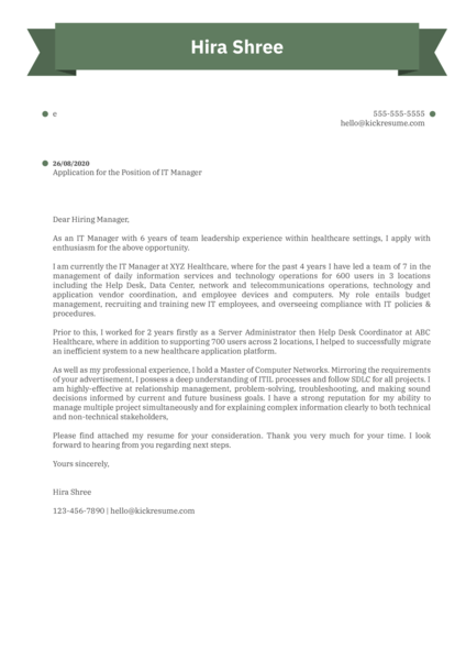Essen Health Care IT Manager Cover Letter Example