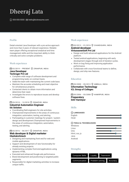 Elevate Services Java Developer Resume Example