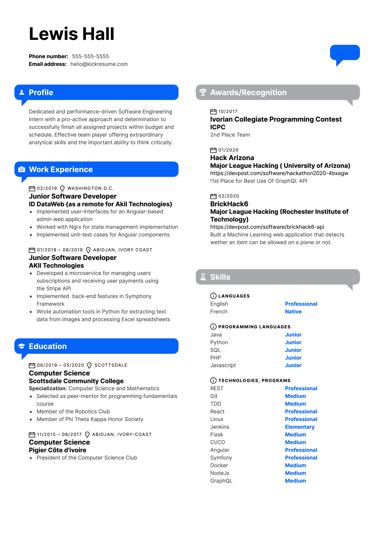 Software Engineering Intern Resume Example