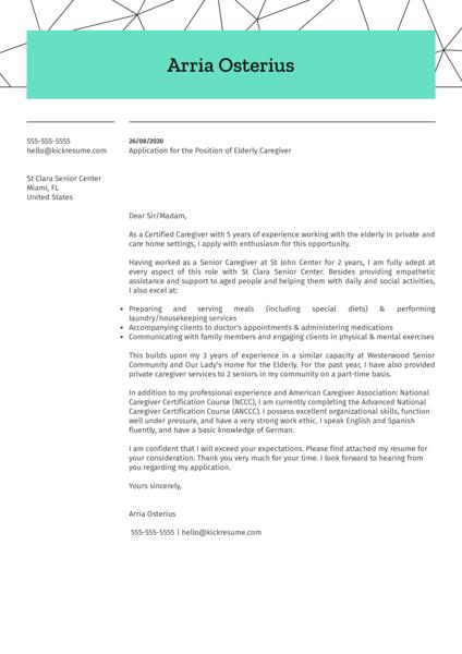 Elderly Caregiver Cover Letter Example