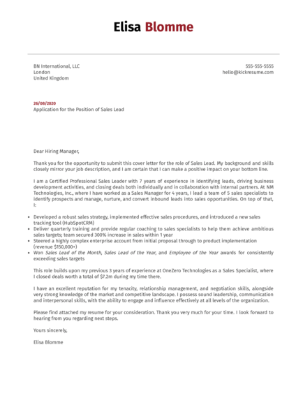 Sales Lead Cover Letter Sample