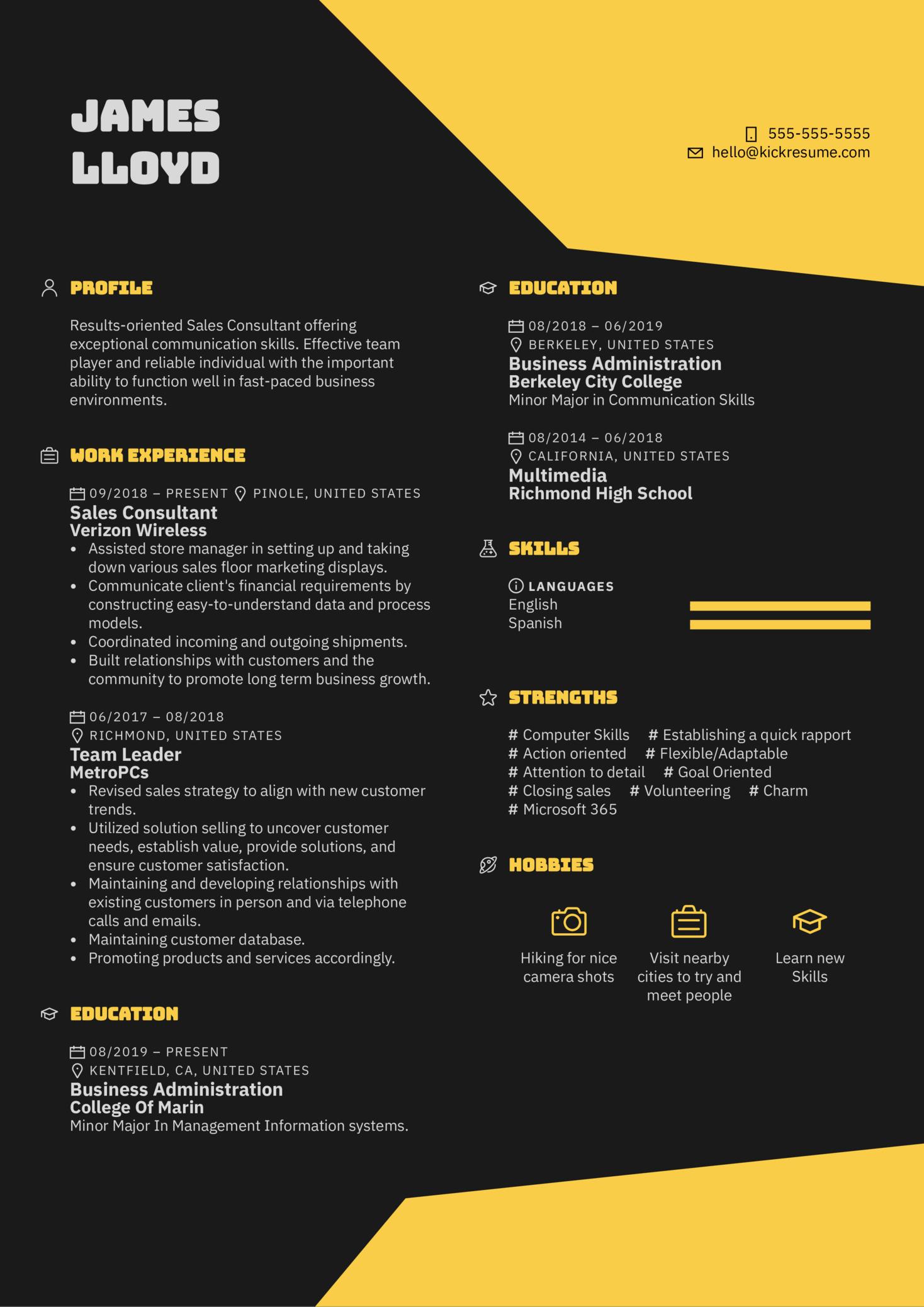 Sprint Sales Consultant Resume Example