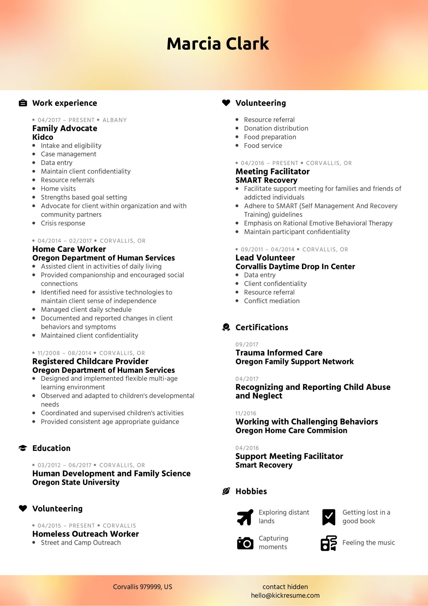 Family Advocate Resume Example (Teil 1)