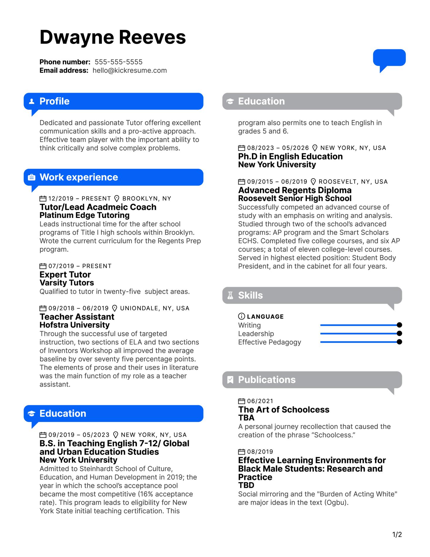 Tutor Resume Sample (Part 1)