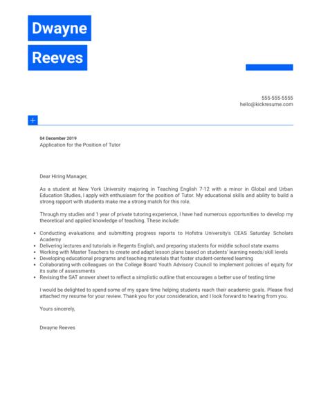 Tutor Cover Letter Sample