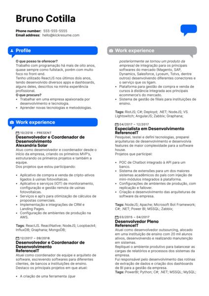 Next Bank Senior Software Developer Resume Example [ES]