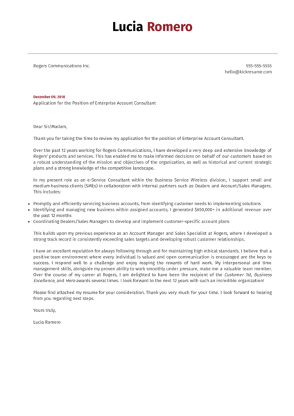 Enterprise Account Consultant at Rogers Cover Letter Sample
