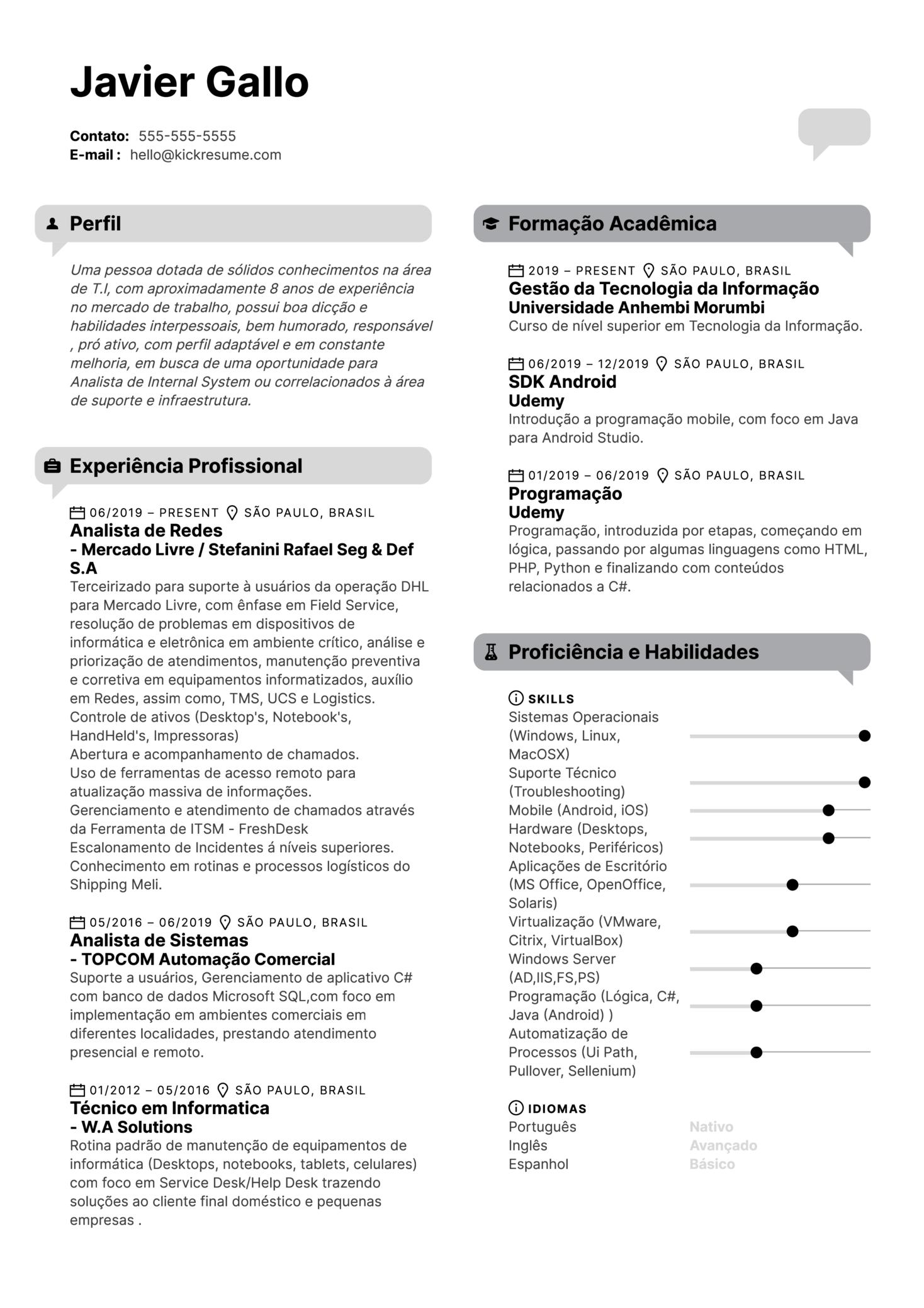 MercadoLibre Network Analyst Resume Example [ES]