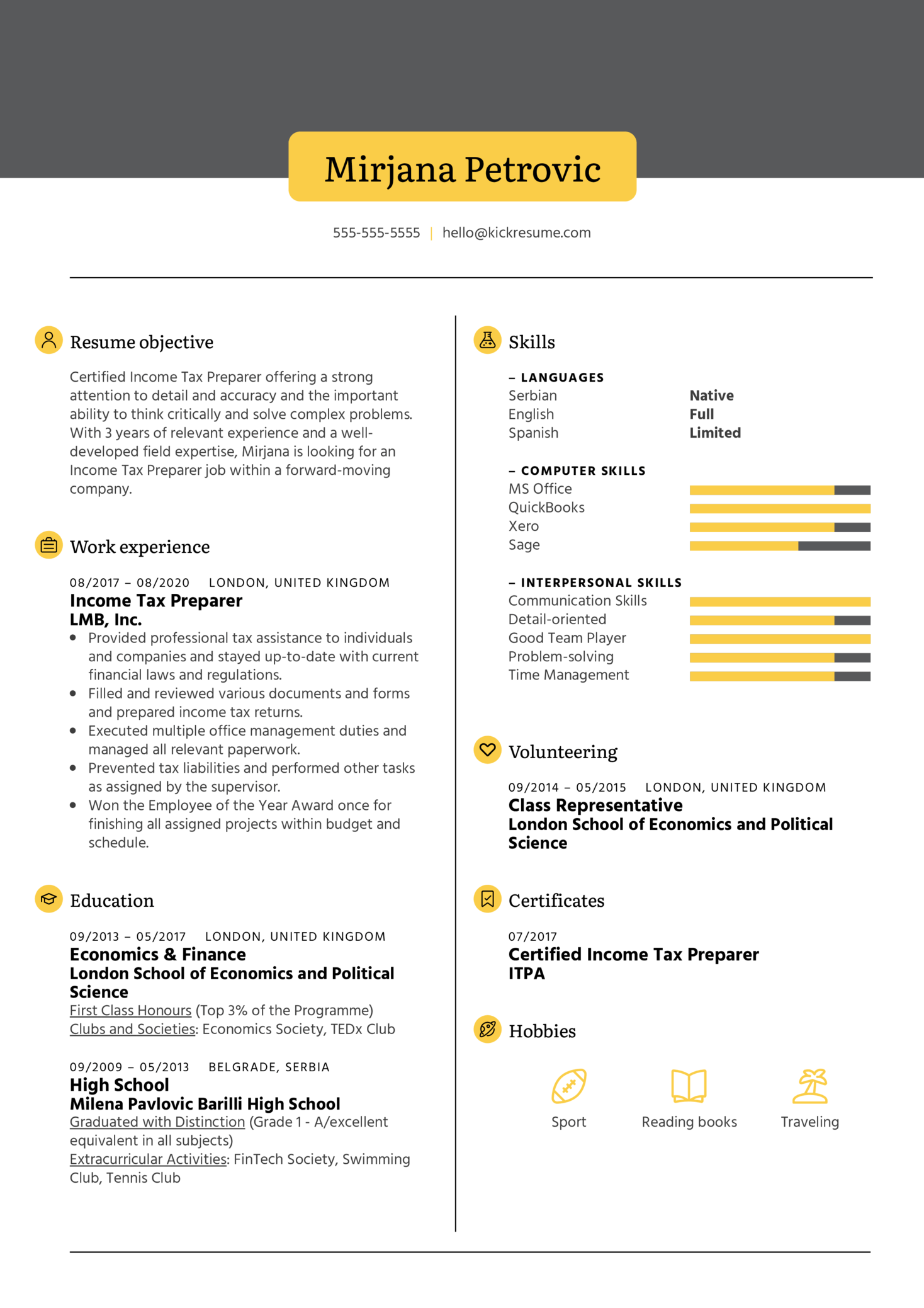 Income Tax Preparer Resume Example