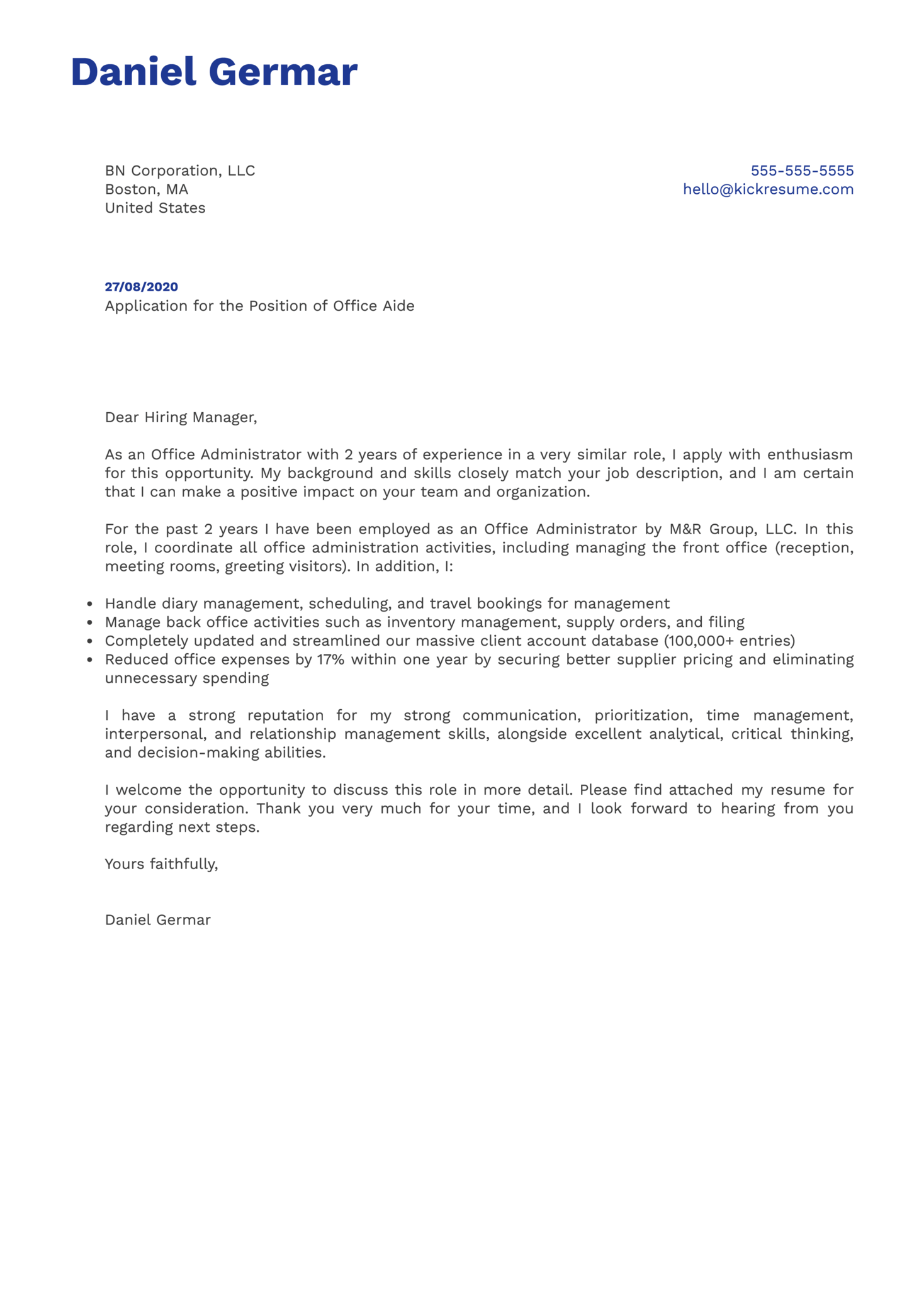 Office Aide Cover Letter Example