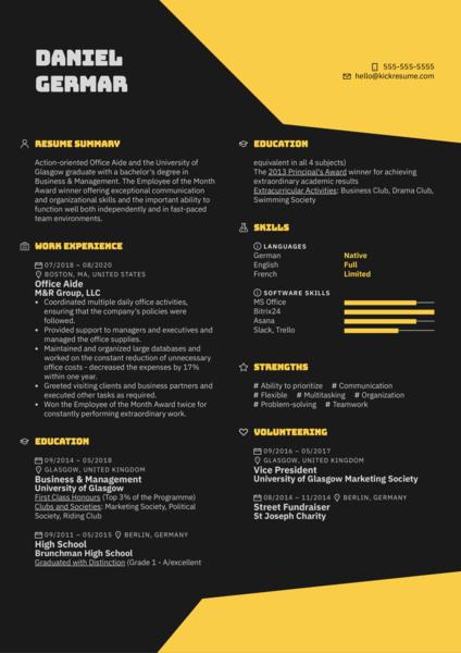 Office Aide Resume Sample