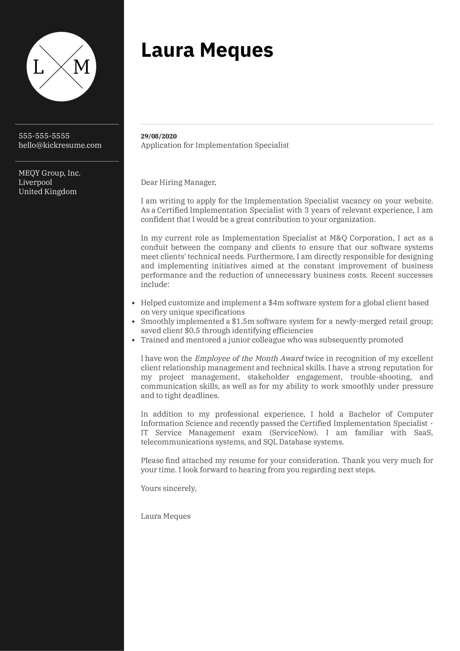 Implementation Specialist Cover Letter Sample