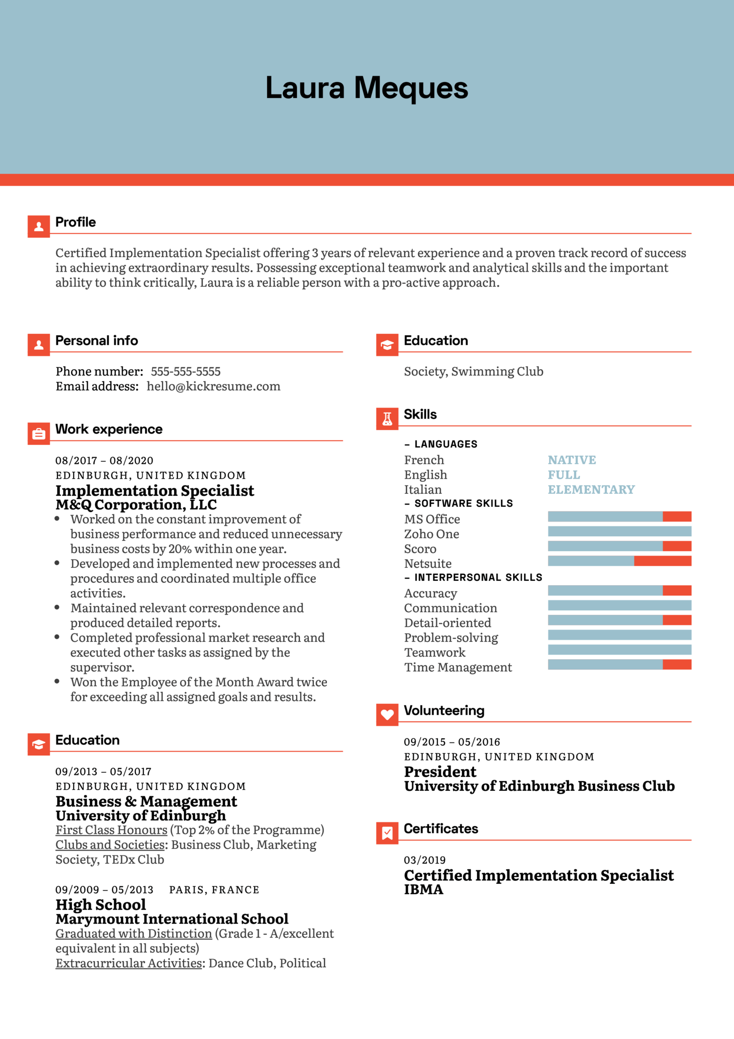 Implementation Specialist Resume Example