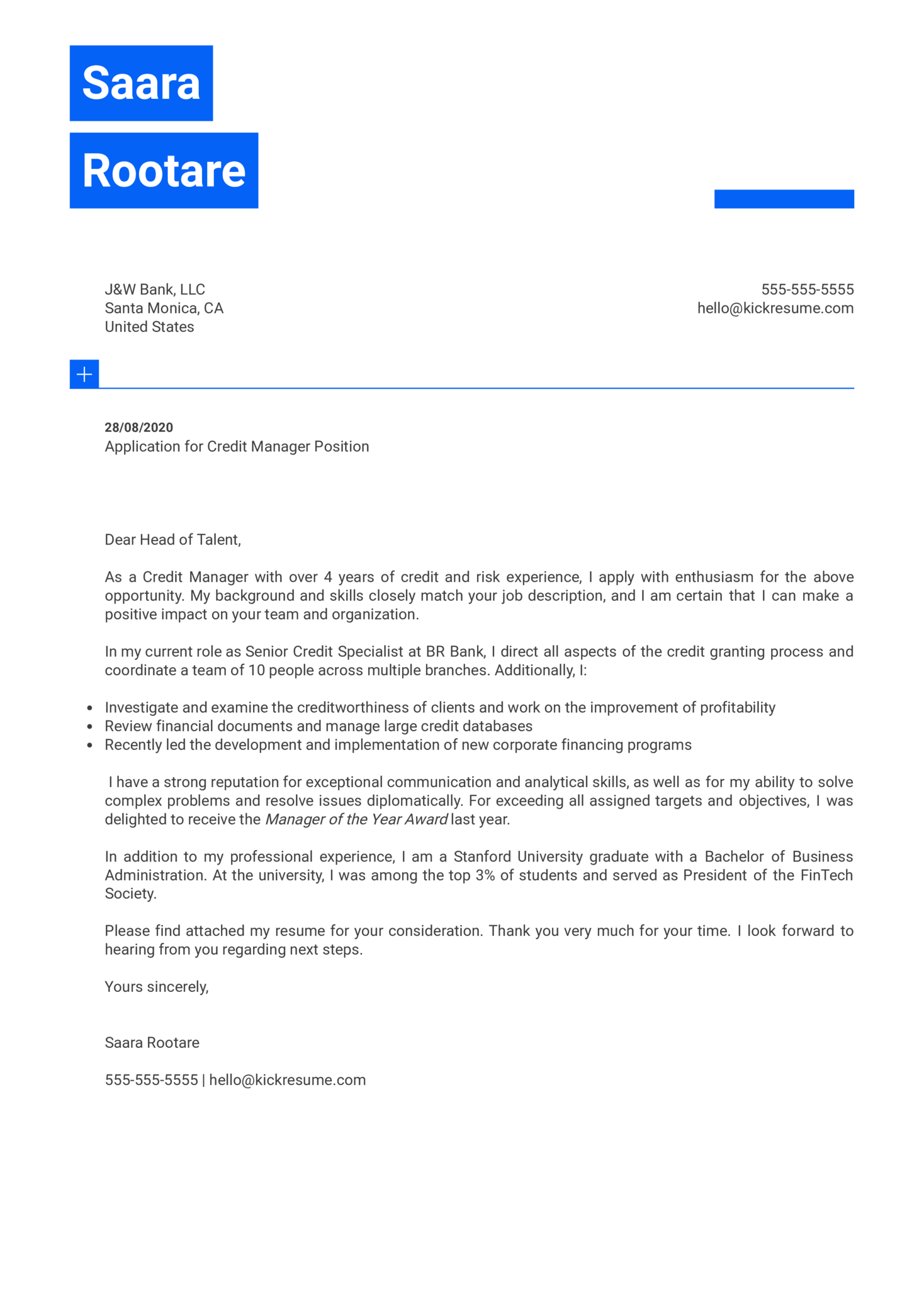 Credit Manager Cover Letter Example