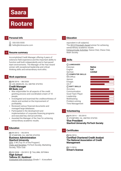 Credit Manager Resume Example