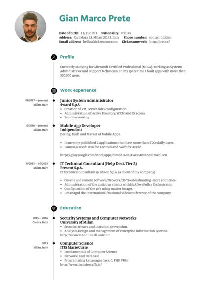 Mobile Developer Resume Example