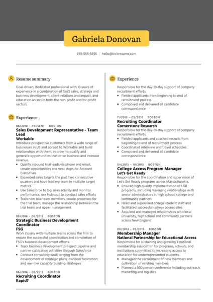 Business Development Representative Resume Example