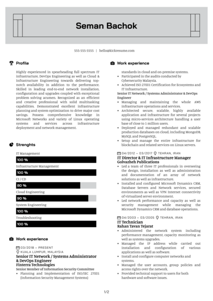 Coinify DevOps Engineer Resume Example
