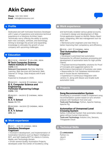 Intel Intern Resume Example