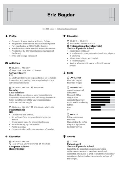 Prey Labs Software Intern Resume Example