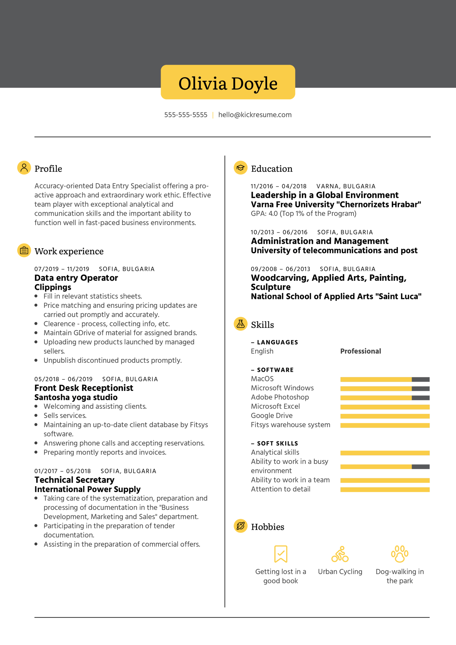 Nielsen GTC Data Entry Specialist Resume Example