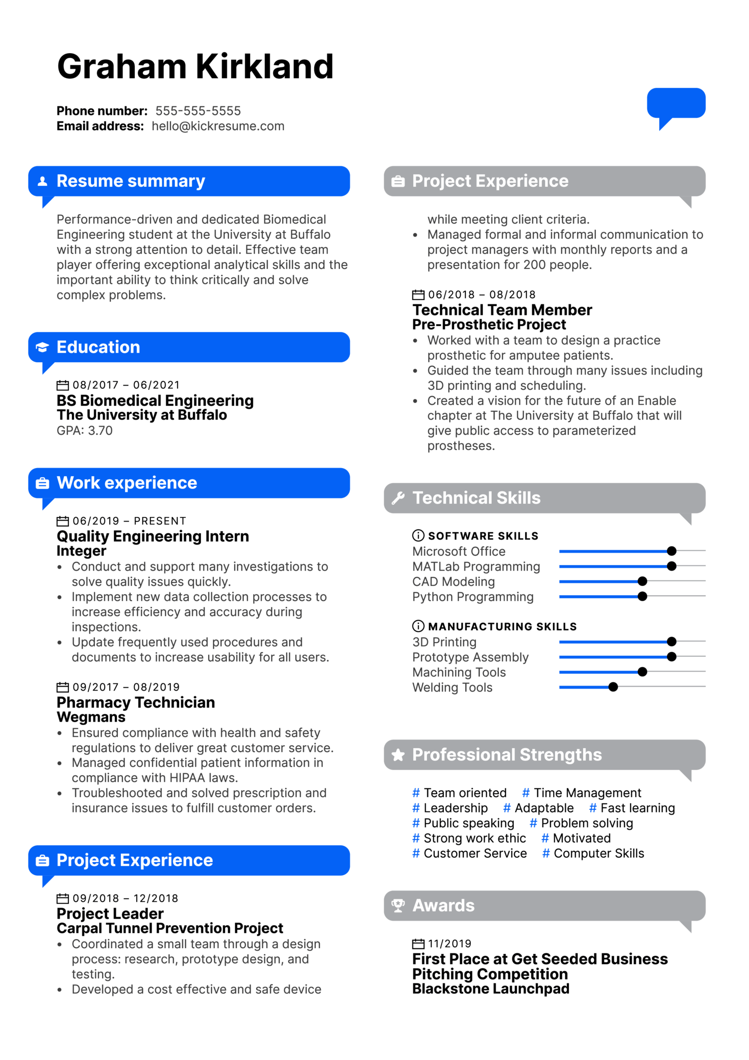 You First Services Engineering Intern Resume Example