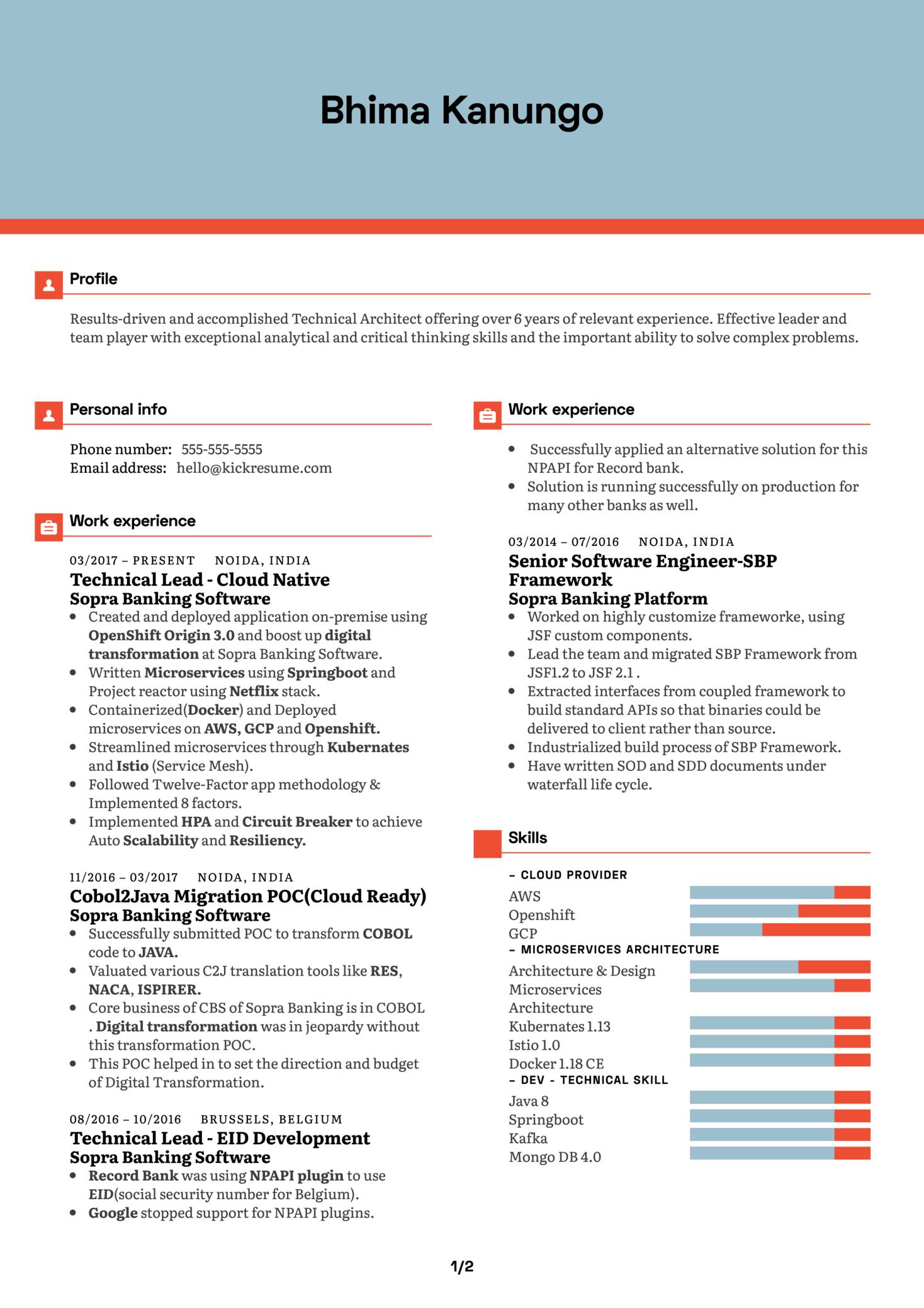 ImpetusTechnical Architect Resume Example (Part 1)