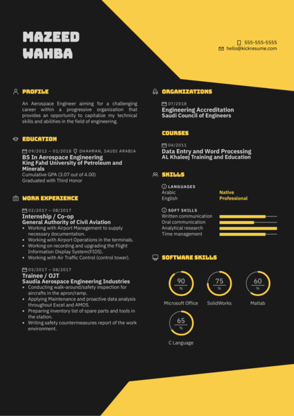 KACST Assistant Engineer Resume Example
