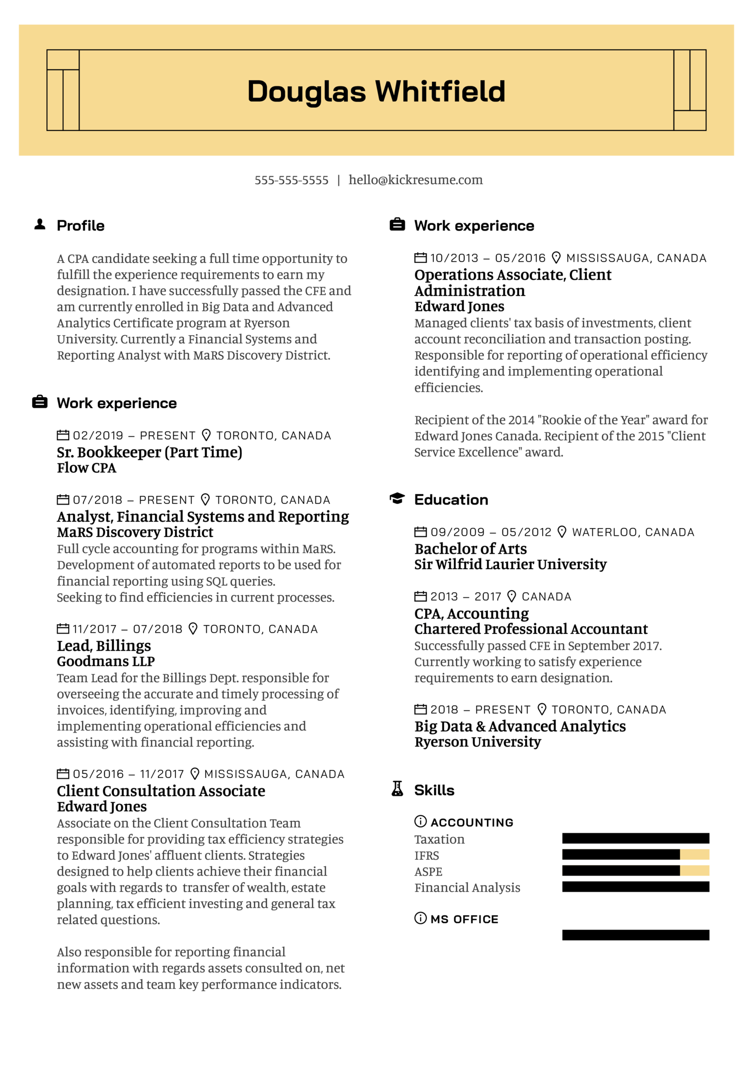 MaRS Discovery District Staff Accountant Resume Example (Teil 1)
