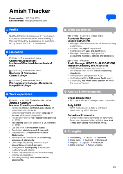 Aequs Assistant Manager Resume Example