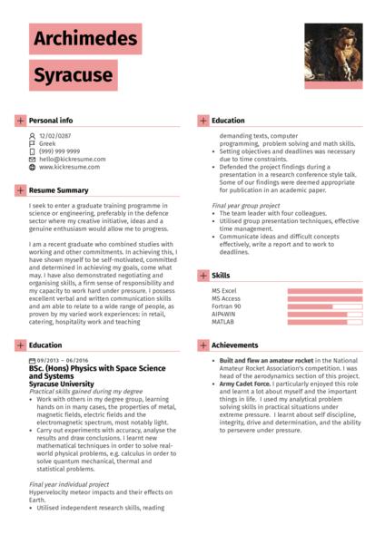 Student Resume Physics