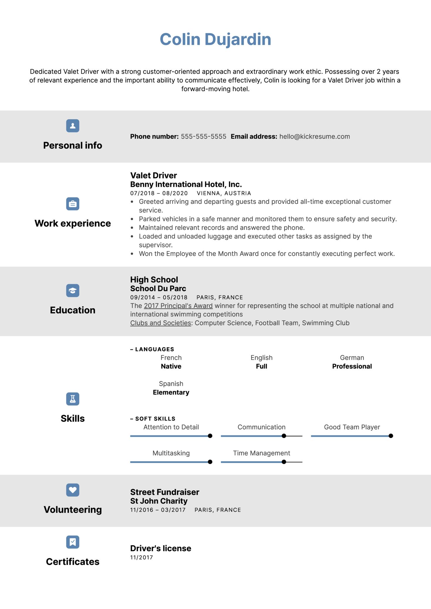 Valet Driver Resume Sample
